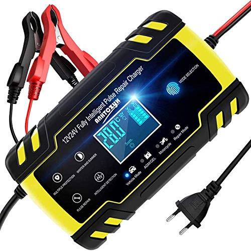 NWOUIIAY Cargador Batería 8A 12V/24V Mantenimiento
