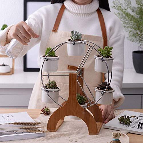 Hblj ♫ vaso decorativo in ceramica bianca vaso in ceramica succulente 6 fioriera con 1 vaso in bambù con ruota panoramica