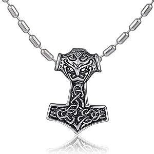 DonDon Herren Halskette Edelstahl 55 cm und Anhänger Thor Hammer aus Edelstahl verpackt in einem schwarzen Samtbeutel