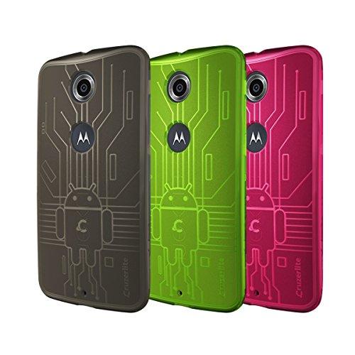 CruzerLite Nexus6-Circuit-SK/GN/PK Bugdroid Schluss Schutzhülle für Motorola Nexus 6 (3er Pack) rauchen/grün/rosa