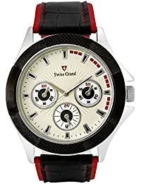 Swiss Grand SG-1154 Black Coloured With Red Leather Strap Analog Quartz Watch For Men