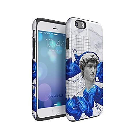 Antique Roman Marble Sculpture With Blue Paint Dashes Apple iPhone 6 / iPhone 6S Silicone Inner & Outer Hard PC Shell 2 Piece Hybrid Armor Case Cover