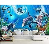 Pmhhc Benutzerdefinierte Wallpaper 3D Unterwasserwelt Aquarium Kinderzimmer Cartoon Hintergrund Wand Wohnzimmer Schlafzimmer Tv Wandbild Tapete-280X200Cm