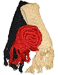 Holidaysuitcase-Pack of 3 chunky winter scarves black cream & red.