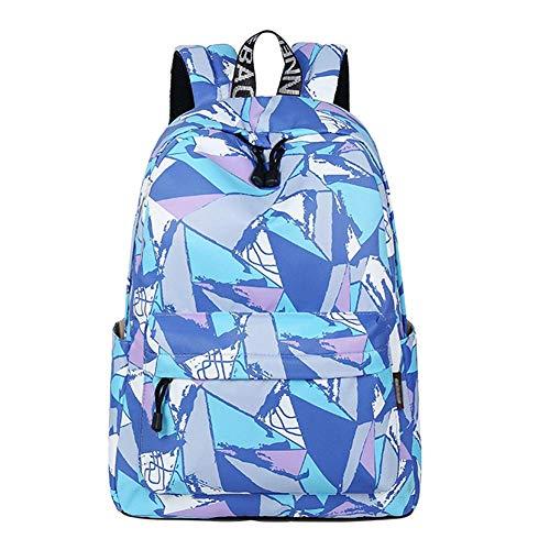 Bobopai School Bag Double Shoulder Bag Student Bag Print Leisure Outdoor Travel Backpack (1 Pack) Blue
