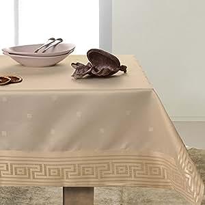 140x200 beige Tischdecke Tischtuch schönes Muster elegant praktisch pflegeleicht fleckgeschützt Ares