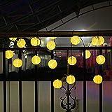 Eqosun® Solar Lampion Lichterkette 30 LED EXTRA 4 Meter Zuleitung wetterfest für den Außen- und Innenbereich