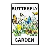 HALEY GAINES Butterfly Garden Targa in Metallo Decorazione Parete Cartello Vintage Appendere Poster retrò Muro Placca per Bar Cucine Bagni Garage Hotel Giardino 20×30cm