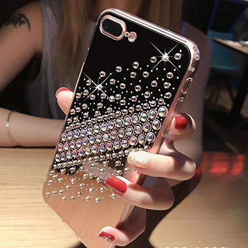 Cover iPhone 8,Cover iPhone 7,Custodia iPhone 8 / iPhone 7 Cover,ikasus® Diamanti di cristallo lucidi Glitter Specchio di placcatura custodia iPhone 8 / iPhone 7 Custodia Cover TPU paraurti in silicon Nero