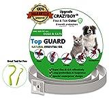 CRAZYBOY Zeckenhalsband mit Frei Zeckenentferner - Zeckenhalsband für Hunde und Katzen - 63cm Verstellbare & Wasserdichte & Hypoallergen(Grau)