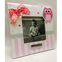 Portafotos PERSONALIZADOS para bautizo de niña marcos rosas GRABADOS (pack 10 unidades)