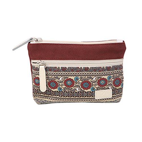 Wifun auen Leinwand Retro Floral Kleine Ändern Geldbörse Kupplungen Bag Weibliche Key Geld Münze Halter Taschen (#3)