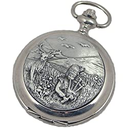A E Williams 4826 Piper mens mechanical pocket watch with chain