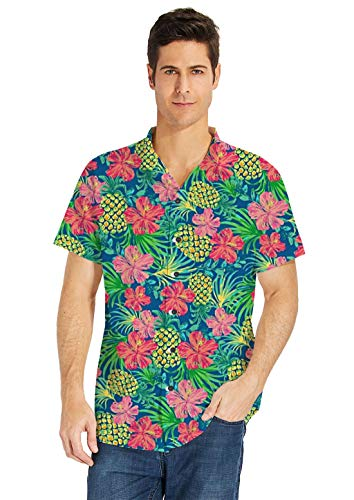 uideazone Sommer Herren Hawaiian Blume Shirt Funky Kurzarm Hawaiihemd - Männer Blumen-shirt Für