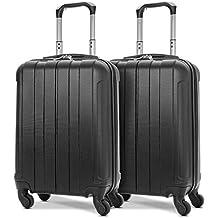 """EONO Essentials Ligero 21"""" ABS Hard Shell Carretilla de Viaje Carry On Hand Cabin con 4 Ruedas, Aprobado para Ryanair easyJet British Airways, Flybe y más, 2 Piezas de Equipaje, or Rose"""