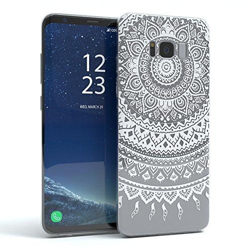 EAZY CASE Hülle für Samsung Galaxy S8 Plus Schutzhülle Silikon Mandala Design, Slimcover Henna, Handyhülle, TPU Hülle/Soft Case, Silikonhülle, Backcover, indische Sonne, transparent, Weiß (Smart-phone In Der Indischen Preis)
