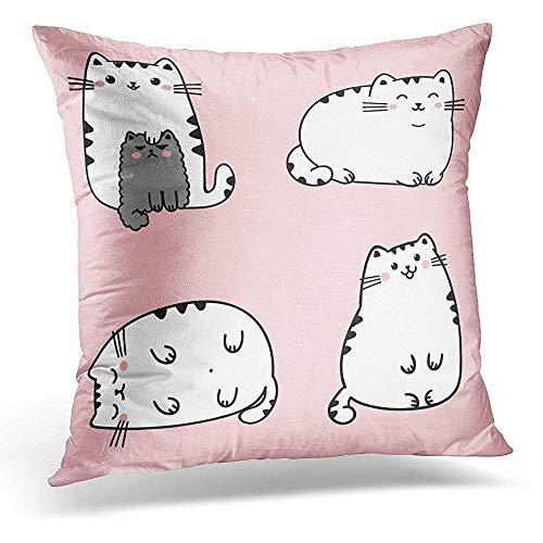 Fundas De Cojín,Black Angry Of Four Kawaii Cute Fat White Cats En Diferentes Poses Estilo Anime Con...