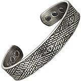 Herren Magnetschmuck keltisches Armband Zinnbeschichtet Kupfer Armbänder für Arthritis Schmerzlinderung Bio Magnetarmband Heilungs Armreif antikes Silber CMP-keltischer Nebel (L: Handgelenk 19-21,5cm)