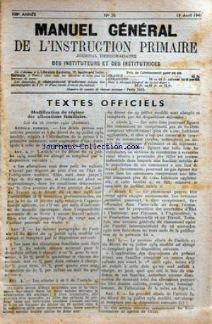 MANUEL GENERAL DE L'ENSEIGNEMENT PRIMAIRE [No 30] du 19/04/1941 - modification du regime des allocations familiales par Collectif