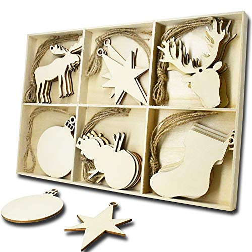 JHYQ-DE 30 Teiliges Set Holz Anhänger Schneeflocke,hölzern Verzierungen Form Deko Weihnachten DIY Handwerk holzherzen Stück,Holzscheiben Handgemachten Schmuck