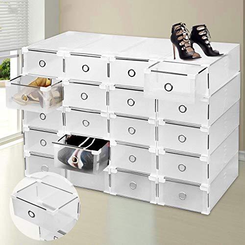 TryESeller 20 Unids Caja de Almacenamiento de Zapatos Apilable Plegable Plástico Holder Armario Caja Organizador Transparente Cajón Claro