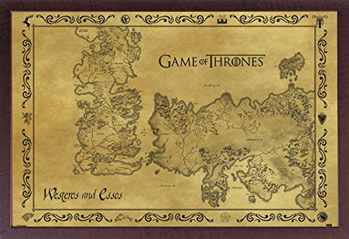 Game of Thrones Poster Antike Karte + Zusatzartikel, MDF-Frame Walnut, 61 x 91 cm
