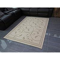 Aspect Diseño de flores de diseño de polipropileno relación de 140 x 200 cm alfombra, Beige/crema