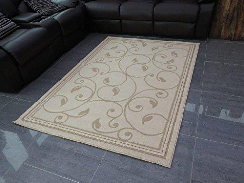 Diseño de flores de diseño de polipropileno relación de 140 x 200 cm alfombra, Beige/crema