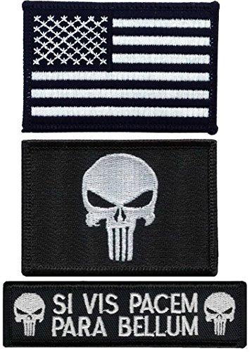 Hook Fastener Punisher Skull US Flag Para Bellum Operator