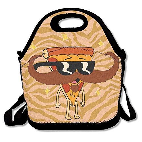 Dozili Pizza mit Sonnenbrille und Schnurrbart, praktisch, große und dicke Neopren, isolierte Lunch-Taschen, warme Tasche mit Schultergurt, für Damen, Teenager, Mädchen, Kinder, Erwachsene