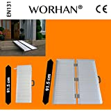 WORHAN® 91.5cm Rampa Plegable Carga Silla de Ruedas Discapacitado Movilidad Aluminio R3