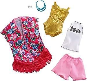 Barbie Fashionistas - Ropa de Barbie con 2 conjuntos completos, ropa y accesorios para muñecas (Mattel FXJ62)