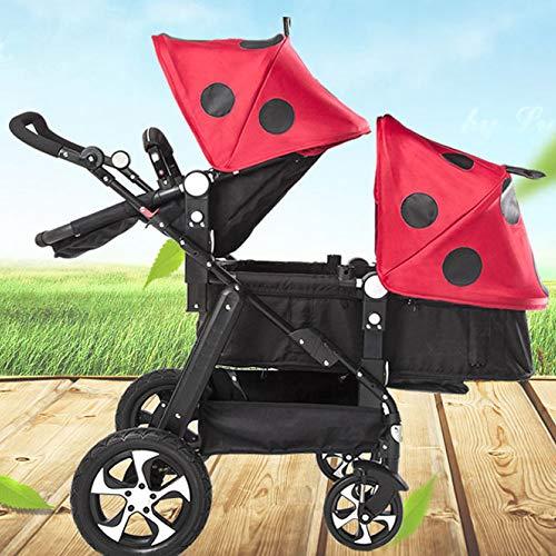WUZHI Doppel-Kinderwagen Doppel-Kinderwagen Tandem-Kinderwagen Mit 2 Sitzeinheiten Für Neugeborene Und Kleinkinder,A