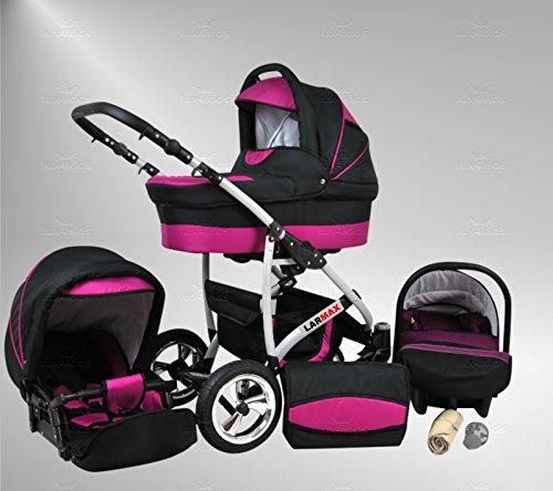 True Love Larmax Kinderwagen Sommer-Set (Sonnenschirm, Autositz & Adapter, Regenschutz, Moskitonetz, Schwenkräder) 94 Purple & Cosmic Black