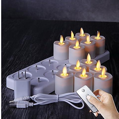 Lot de 12LED rechargeable Nuit sans flamme Thé lumière Bougie avec lumière diffuse Bougies–Fond blanc