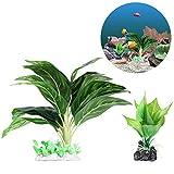 UEETEK 2 Pieza/ Set Plantas de agua para acuarios, Plantas de acuario de plástico frondoso artificial con hojas verdes para la decoración del ornamento del tanque de peces de acuario (grande + pequeño)