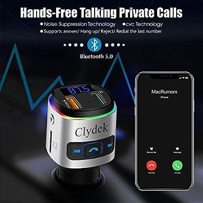 Clydek-Bluetooth-50-FM-Transmitter-Freisprecheinrichtung-fr-Radiosender-mit-QC30-USB-Anschluss-Auto-Audio-Adapter-MP3-Player-Untersttzung-USB-Disk-TF-Karte-mit-buntem-Licht