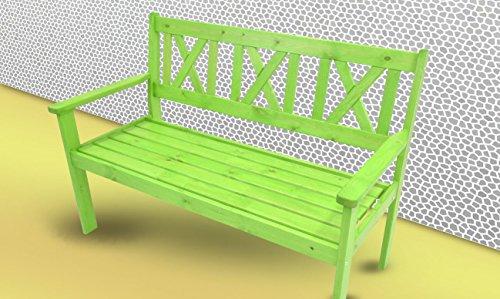 Gartenbank 129 cm Parkbank Sitzbank 3 Sitzer Kiefer Bank Holzbank grün lackiert