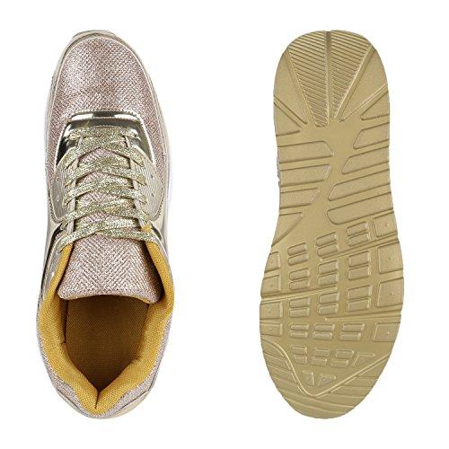 Herren Sportschuhe Leder-Optik | Sneakers Velours Glitzer | Metallic Runners | Freizeitschuhe Schnürer Gold Brooklyn