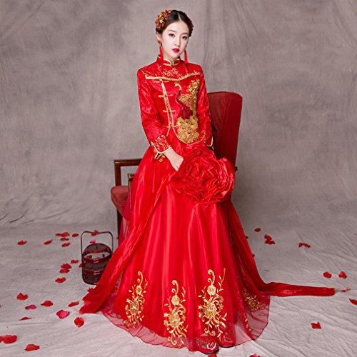 QP Show von Frühjahr Wo Braut Wedding Hochzeitsfeste Chinesische Kleid Hochzeits-Dienst Röstkaffee LongFeng bestickt Wo Hochzeitskleid XS UN (Baumwolle-button Reichen)