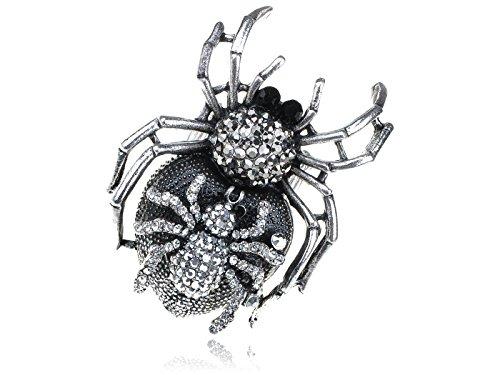Silber Ton Rhinestones Halloween Mutter Baby Spider Ring ()