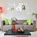 LETTER® 3D schöner Blumen-Spiegel-Vinyl entfernbarer Wand-Aufkleber (Silber)