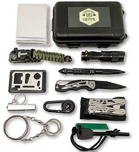 Felbridge Green Außen Notfall Survival Kit 12 in 1 mit Multi-Tool Zangen Set und Paracord Armbänd. Für Camping, Bushcraft, Wandern, Jagd und Ihr Outdoor Abenteuer (Wetter-kit Erste)