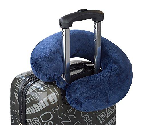 Premium Nackenkissen | Nackenhörnchen | Nackenstütze | mit Druckknopf | verhindert das rollen des Kopfes | angenehme Memory-Schaum-Füllung | für erholsamen Schlaf im Flugzeug, Zug oder Auto | waschbar - abnehmbarer Bezug | verschiedene FARBEN