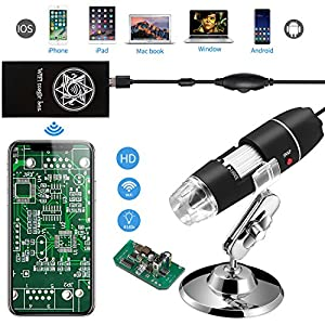 Jiusion Wifi USB Digital Handheld Microscope, 40 to 1000x Wireless Magnification Endoscope 8 LED Mini with Suction and Metal Stand, Compatible with IOS Mac Windows Android