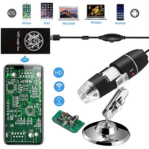 Jiusion WiFi USB Microscopio de Mano Digital Inalámbrico, 40X A 1000X Magnification Endoscopio 8LED Mini Cámara Con Ventosa Y Soporte De Metal Para iPhone iPad Mac Windows Android