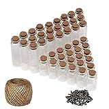 50 Pcs Mini Botellas de Vidrio (25 pequeña, 25 grande) - pequeño Mini botellas de cristal tarros de botella con tapón de corcho - 30 metros Twine and Screw Eye Pins para arte y manualidades decorativas