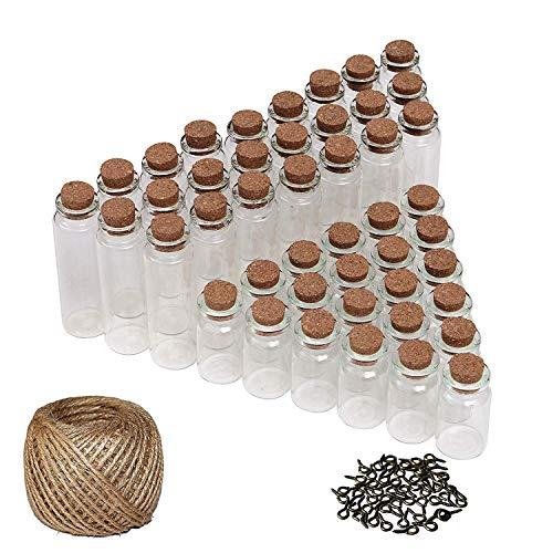 50 Set DIY Mini Glasfläschchen Glasflaschen mit Korken (25 Klein, 25 Groß), 30 Meter Garn und Ösenschrauben - Kleines Fläschchen Flaschen Set für Kunst, Girlanden, Hochzeitseinladungen (Glas Reagenzgläser Loch)