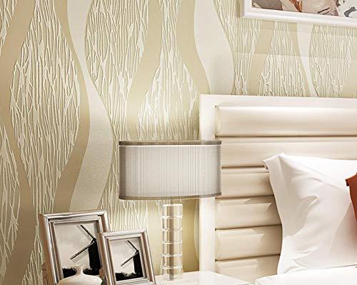 Design Lange Wellige Natürliche (JXArt Tapeten Rolle, Modernes Minimalistisches Design 3D Optik Wandgemälde Vlies-Tapete für Wohnzimmer Schlafzimmer Wanddeko, Wellige Kurvencreme 0.53x10m)