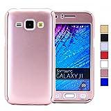 COOVY Funda para Samsung Galaxy J1 SM-J100 SM-J100F (Model 2015) 360 Grados, Carcasa Ultrafina y Ligera, con Protector de Pantalla, protección de Cuerpo Completo   Color Oro Rosa